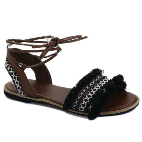Pom Pom Fringe Gladiator Lace-up Sandals Noir 37