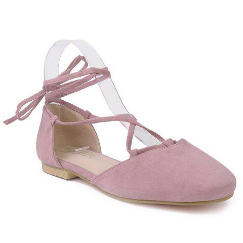 Tie Up Round Toe Flat Shoes - Pink - 38