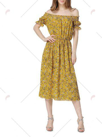 Hot Off The Shoulder Floral Midi Dress - S YELLOW Mobile