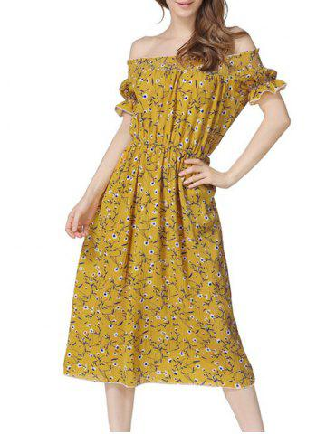 Off The Shoulder Floral Midi Dress - Yellow - Xl