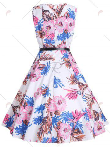Latest Vintage Print Knee Length Party Dress - S WHITE Mobile