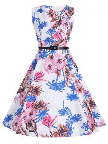 Online Vintage Print Knee Length Party Dress - S WHITE Mobile