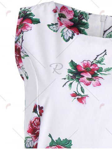 Store Vintage A Line Floral Dress with Belt - 2XL WHITE Mobile