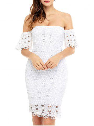Buy Off The Shoulder Sheath Lace Cocktail Dress - S WHITE Mobile