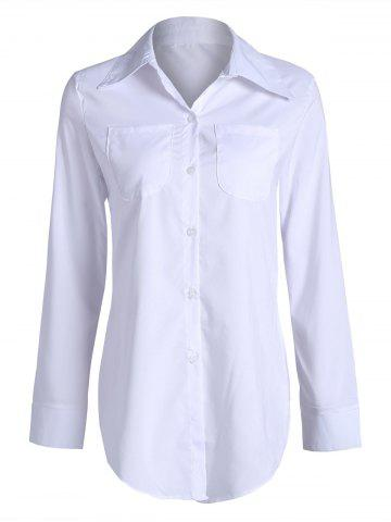Long Double Pockets Button Up Shirt - White - Xl