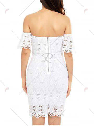 Fashion Off The Shoulder Sheath Lace Dress - L WHITE Mobile