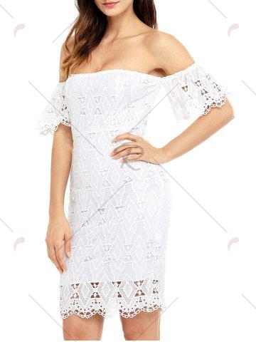 Hot Off The Shoulder Sheath Lace Dress - L WHITE Mobile