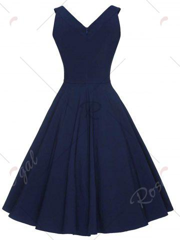 Buy Vintage V-neck Sleeveless Dress - 2XL PURPLISH BLUE Mobile