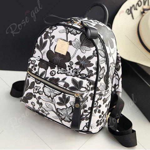 Discount Faux Leather Floral Print Backpack - BLACK  Mobile