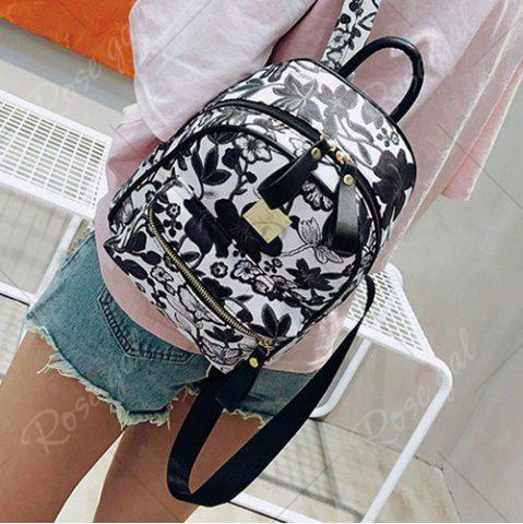 Sale Faux Leather Floral Print Backpack - BLACK  Mobile