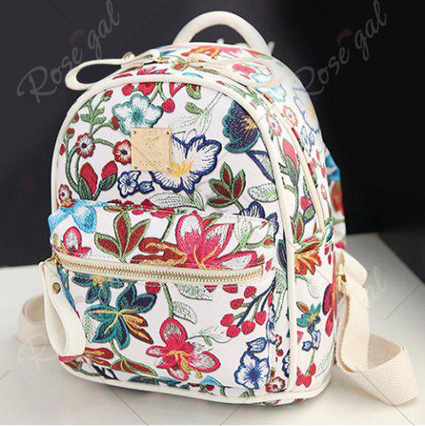 Discount Faux Leather Floral Print Backpack - WHITE  Mobile
