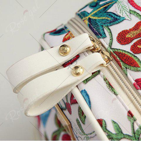 Outfit Faux Leather Floral Print Backpack - WHITE  Mobile