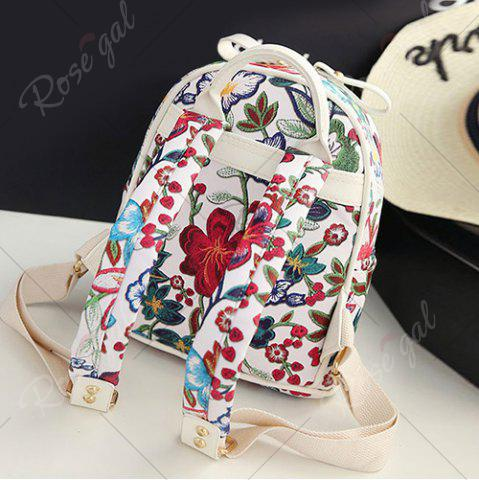 Hot Faux Leather Floral Print Backpack - WHITE  Mobile