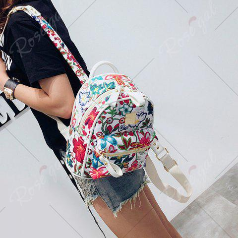 Online Faux Leather Floral Print Backpack - WHITE  Mobile
