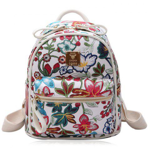 Sale Faux Leather Floral Print Backpack WHITE