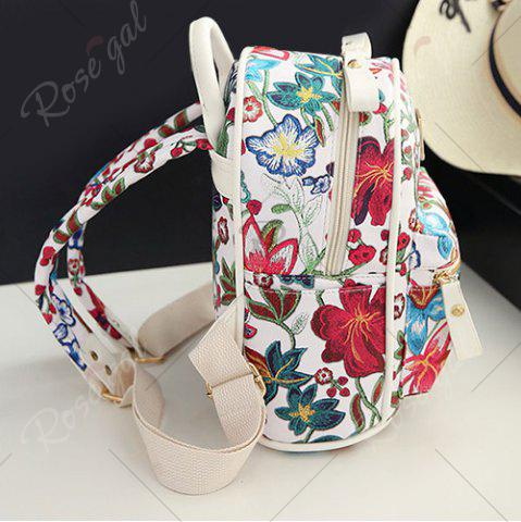 Shop Faux Leather Floral Print Backpack - WHITE  Mobile