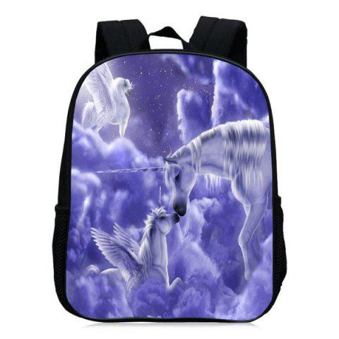 Shops Padded Strap Unicorn Printed Backpack - PURPLE  Mobile