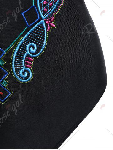 Fancy Plus Size Crossback Embroidered Swimsuit - XL BLACK Mobile