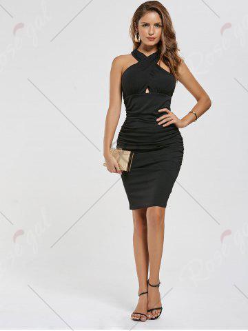 Store Ruched Bodycon Dress - M BLACK Mobile