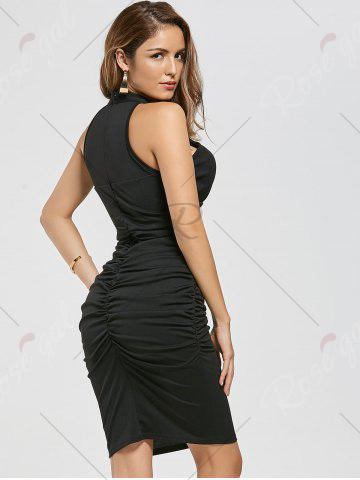 Sale Ruched Bodycon Dress - M BLACK Mobile