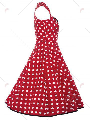 Sale Vintage Polka Dot Buttons Fit and Flare Dress - S RED Mobile