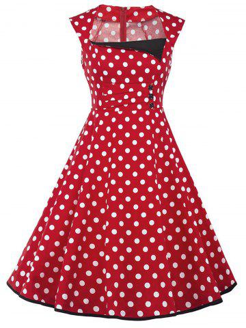 Cheap Vintage Polka Dot Buttons Fit and Flare Dress - S RED Mobile
