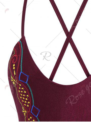 Chic Plus Size Crossback Embroidered Swimsuit - 4XL WINE RED Mobile