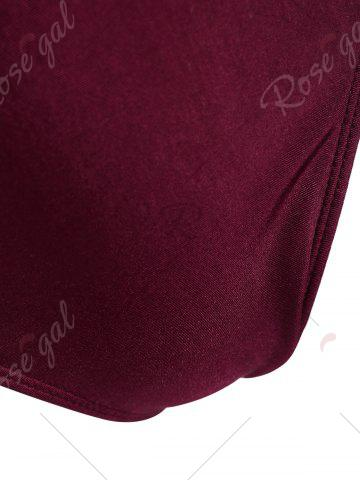 Affordable Plus Size Crossback Embroidered Swimsuit - 4XL WINE RED Mobile