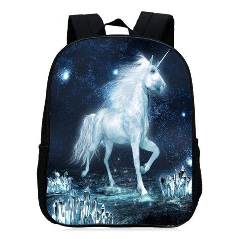 Fancy Padded Strap Unicorn Printed Backpack - WHITE  Mobile