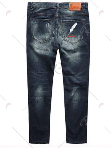 Latest Plus Size Feather Embroidery Straight Jeans - 3XL DEEP BLUE Mobile