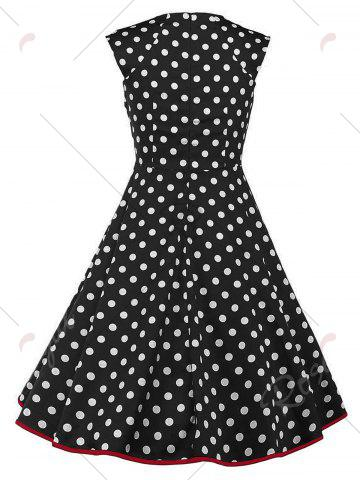 Cheap Vintage Polka Dot Buttons Fit and Flare Dress - 2XL BLACK Mobile