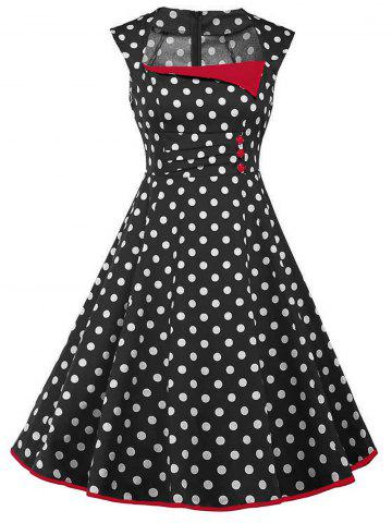 Store Vintage Polka Dot Buttons Fit and Flare Dress - 2XL BLACK Mobile