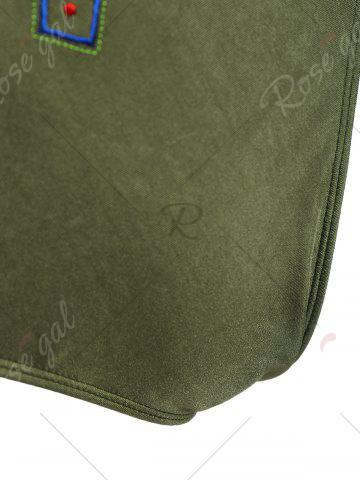Online Plus Size Crossback Embroidered Swimsuit - 4XL ARMY GREEN Mobile