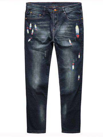 Best Plus Size Feather Embroidery Straight Jeans