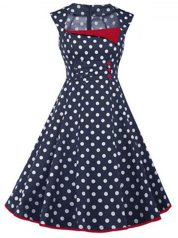 Outfit Vintage Polka Dot Buttons Fit and Flare Dress - 2XL DEEP BLUE Mobile
