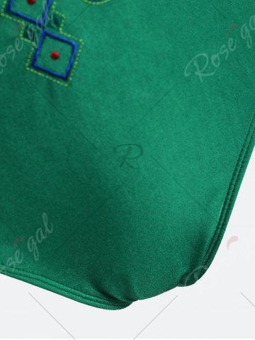 Best Plus Size Crossback Embroidered Swimsuit - 4XL GREEN Mobile