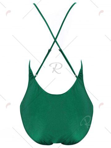 Trendy Plus Size Crossback Embroidered Swimsuit - 4XL GREEN Mobile
