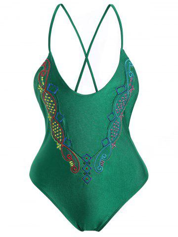 Online Plus Size Crossback Embroidered Swimsuit - 4XL GREEN Mobile