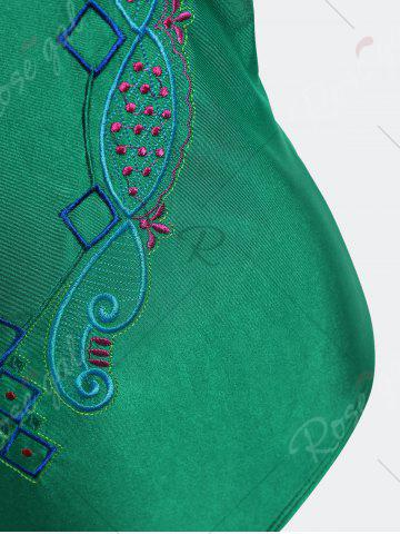 Unique Plus Size Crossback Embroidered Swimsuit - 4XL GREEN Mobile