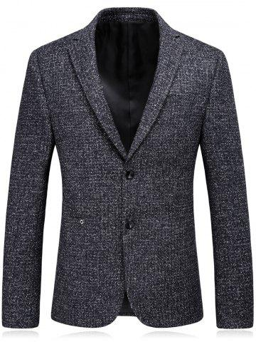 Store Woolen Blend Single Breasted Metallic Eyelet Blazer BLACK GREY L