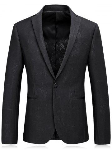 Online Lapel Edging One Button Irregular Pinstripe Blazer BLACK L