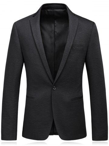 New One Button Lapel Edging Cotton Blends Blazer BLACK XL