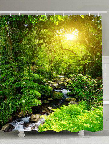 Forest Stream Sunlight Waterproof Shower Curtain - Green - W71 Inch * L71 Inch
