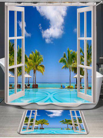 Coconut Trees Window Scenery Shower Curtain and Rug - Blue - W71 Inch * L79 Inch