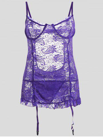 Lace Mini Plus Size Slip Babydoll - Light Purple - 3xl