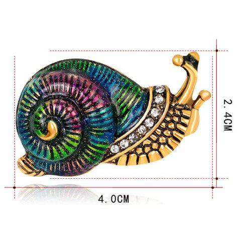 Store Rhinestone Inlaid Enamel Snail Design Brooch - COLORFUL  Mobile