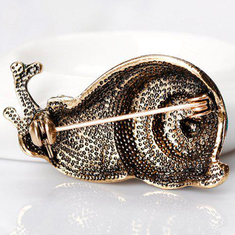 Chic Rhinestone Inlaid Enamel Snail Design Brooch - COLORFUL  Mobile