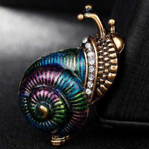 Outfit Rhinestone Inlaid Enamel Snail Design Brooch - COLORFUL  Mobile
