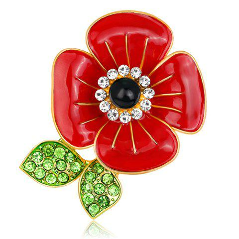 Cheap Poppy Design Plating Rhinestone Inlay Brooch RED