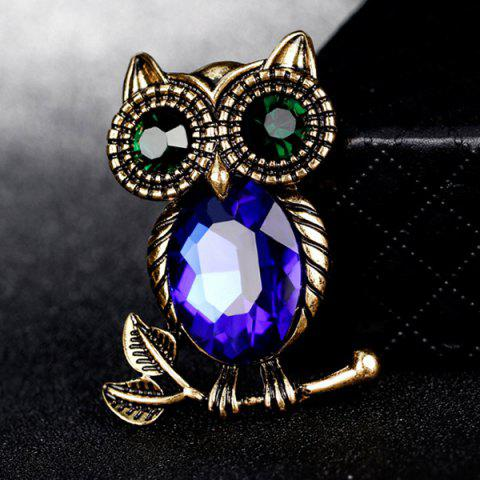 Store Owl Shape Retro Faux Crystal Inlaid Brooch - BLUE  Mobile